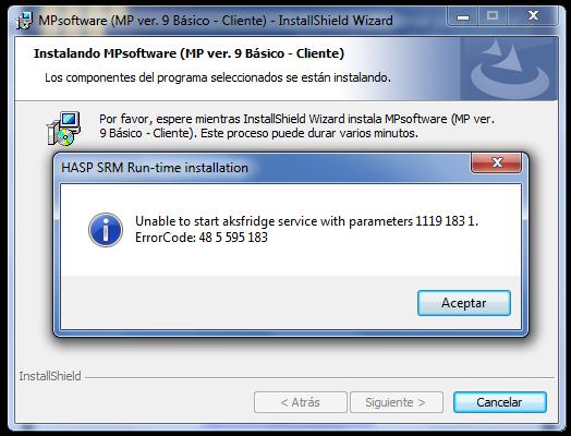 Soporte Técnico MPsoftware | Mensaje: Unable to start